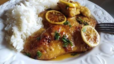 Pollo con limón caramelizado en miel