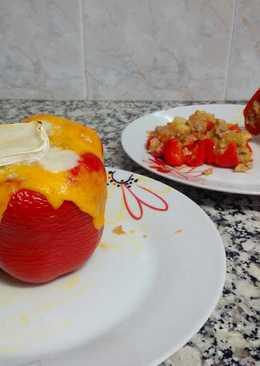 Pimientos rellenos de carne y verduras con 3 quesos