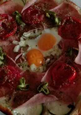 Pizza de hojaldre con verduras y jamón york