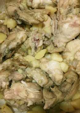 Pollo guisado con setas y patatas a la cerveza