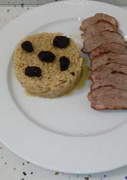 Pato al cava con miel y arroz con arándanos