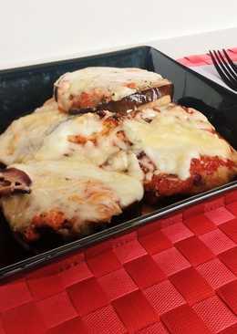 Berenjena y calabacín con mozzarella y jamón cocido