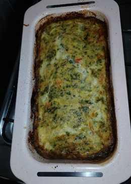 Tortilla de papa con espinaca al horno