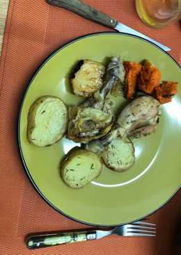 Pollo al horno con patatas y calabaza