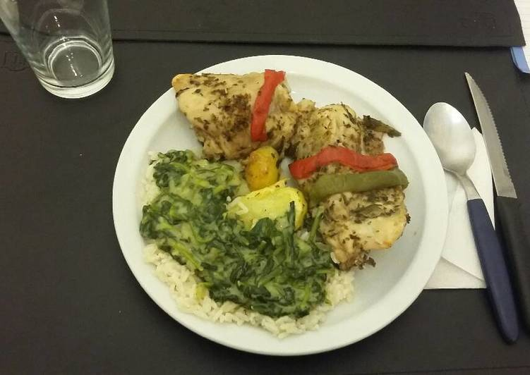 Pollo al horno con arroz y salsa de espinacas receta de - Salsas para el pollo al horno ...