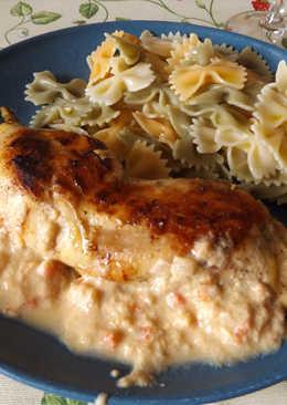 Pollo al jerez con salsa de caqui