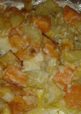 Patatas dulces y saladas gratinadas con nata y queso