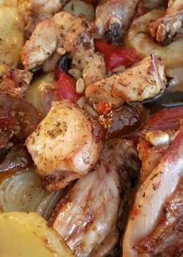Asado de pollo y verduras