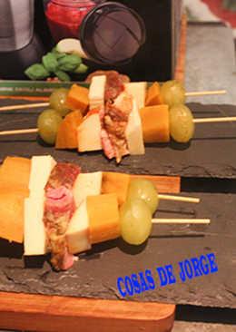 Pincho de jamón cocido con queso y boniato