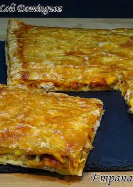 Empanada de pollo con masa de hojaldre, receta súper fácil