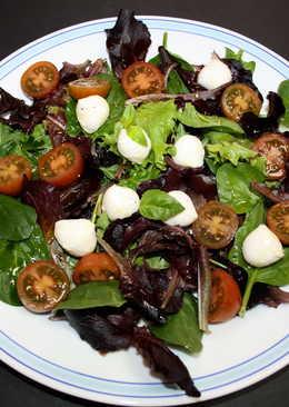 Ensalada de brotes con tomate y mozzarella