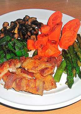 Panceta de cerdo con verdura variadas