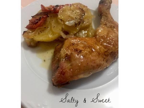 Pollo al horno con patatas panadera