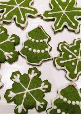 Galletas de té Matcha para Navidad