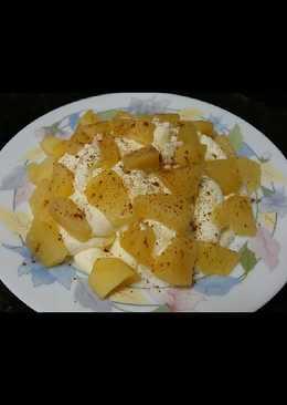 Postre de nata y manzana con canela