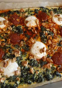 Hojaldrado de espinacas con queso de cabra, chorizo colorado y nueces