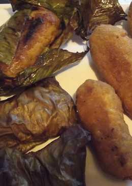 Tamal de gambas rellenas de fruta y costra de coco-maíz con salsa de tequila al chocolate enchilado