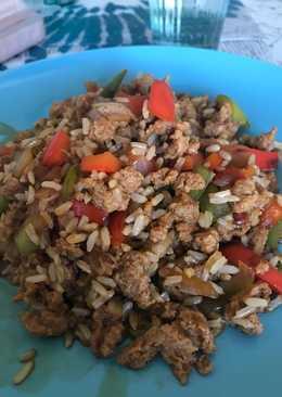Soja texturizada con arroz integral y verduras