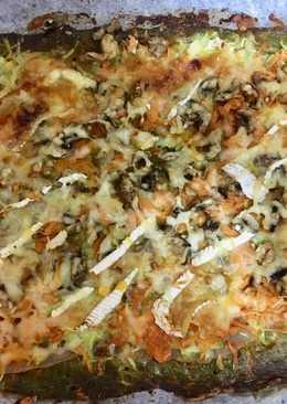 Pizza de verduras, queso de Cabra, nueces y miel (base masa de brócoli)
