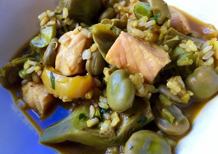 Arroz caldoso con alcachofas habas y salm n receta de - Arroz caldoso con costillas y alcachofas ...
