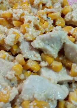 Pollo con maíz y nata