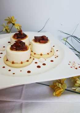 Mango y piña en caramelo salado sobre Panacotta!!!
