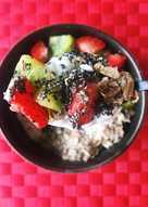 Yogur desayuno fresa y kiwi