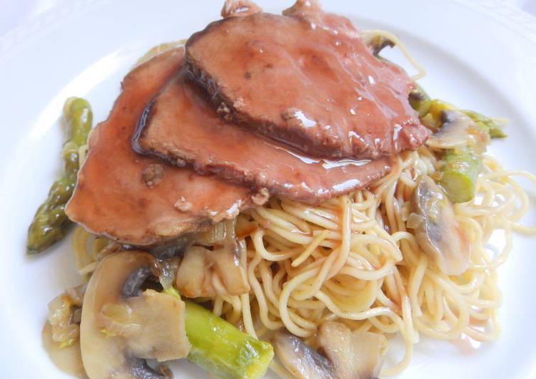 Receta de Pechuga de pato con salsa de oporto y pera