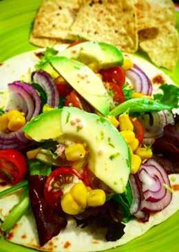 Tacos veganos con vinagreta de mostaza y lima 🌮🌮🌮