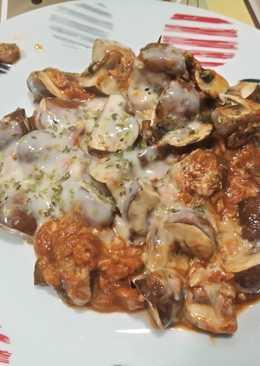 Champiñones con salsa pizza (Lékué)