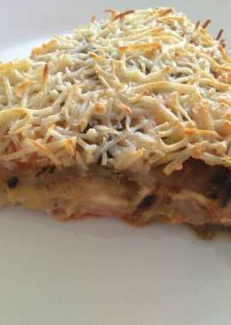 Lasaña de berenjenas y calabacines, con pavo y queso