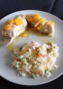 Pechugas de pollo rellenas en salsa