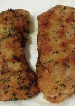 Cachopo de setas, queso y pimientos del piquillo