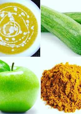 Crema calabacin, manzana verde y curry