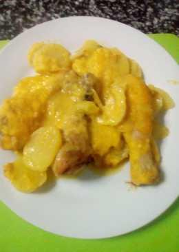 Horneado de Jamoncitos de pollo con patatas a la naranja