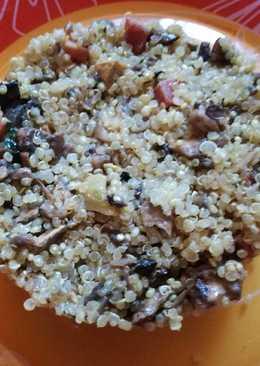 Quinoa o cuscús con champiñones y jamón (BLW)