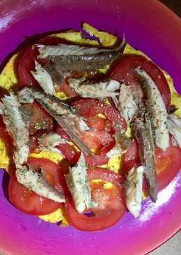 Tortita de Clara y chía con caballa y tomate #fitness #rápida y fácil