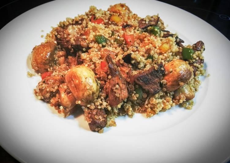 Quinoa con pollo y verduras maceradas en salsa de soja for Cocinar quinoa con pollo