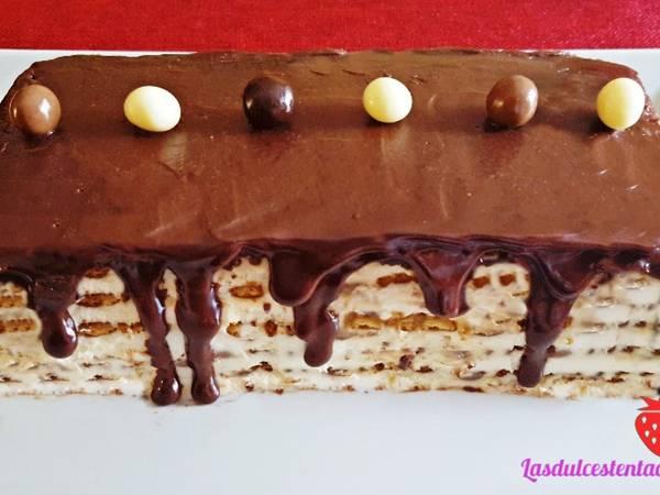 Tarta de Galletas y Café con Baño de Chocolate