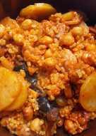 Arroz integral con garbanzos y morcilla asturiana