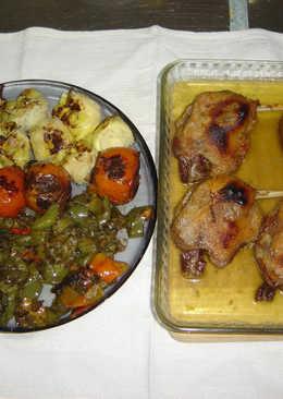 Muslos de pato confitado con verduras a la plancha