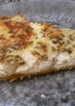 Tarta de cebolla y crema de cebollas