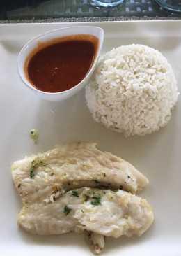 Lenguado al vapor, arroz 🍚con salsa 💃 de coco 🤓