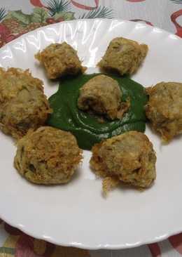 Alcachofas rebozadas con crema de espinacas