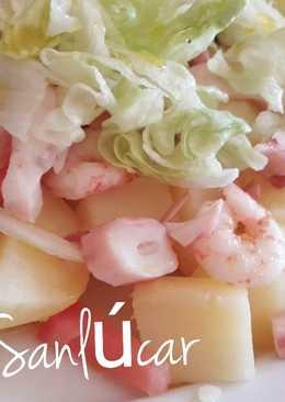 Ensalada de patata templada con gambas y pulpo