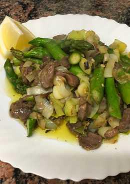 Wok de mollejas con verduras