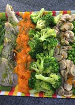 Verduras al vapor🍲🌽🥒🍠🥔🌶aliñadas con ajo y perejil