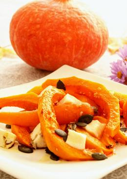 Verduras de calabaza y zanahoria asadas con queso de cabra