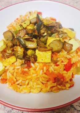 Arroz viudo con tofu y champiñones fritos (vegano)