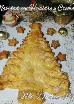Árbol de navidad con hojaldre y crema pastelera